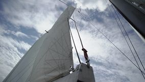 Segel auf Segeljacht stock video