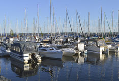 Segel-Boote angekoppelt am Jachthafen Stockfotografie