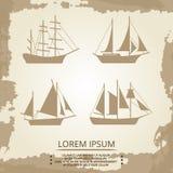 Segelbåt- eller skeppsymboler på tappningbakgrund royaltyfri illustrationer