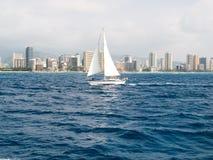 Segelbåt framme av Waikiki royaltyfria bilder