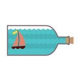 Segelbåt i en glasflaska Arkivfoto