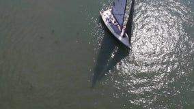 Segelbåt i havet nära porten footage Vit segelbåt i havet lager videofilmer