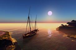 Segelbåt i lagunen Fotografering för Bildbyråer