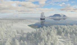 Segelbåt i vinterlandskap Royaltyfri Bild