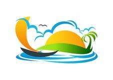 Segelbåt logo, yacht, symbol, strand, semester, vektorsymbolsdesign vektor illustrationer