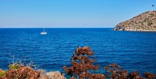 Segelbåt och ö Arkivfoto