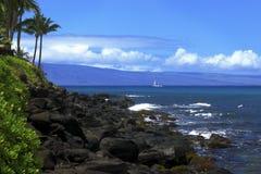 Segelbåt och Lanai Arkivbilder