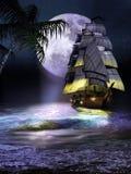 Segelbåt på kusten på natten vektor illustrationer