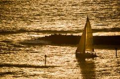 Segelbåt som är hövdad ut på solnedgången i Hawaii royaltyfri bild