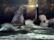 Segelbåt under storm Arkivbild