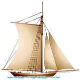 Segelbåt XIX århundradeseglingskyttel royaltyfri illustrationer