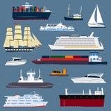 Segelbåtar för vektor för bransch för lopp för skyttel för symbol för havet för skeppkryssarefartyget kryssar omkring uppsättning vektor illustrationer