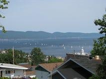 Segelbåtar i Gaspe, Quebec Fotografering för Bildbyråer