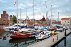 Segelbåtar i historisk flotta gdansk poland Arkivfoto