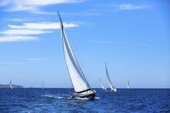 Segelbåtar i seglingregatta segling utomhus- livsstil Arkivfoto