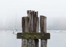 Segelbåtar på en dimmig morgon Arkivbild