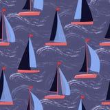 Segelbåtar på för vektorrepetition för vågor nautisk modell royaltyfri illustrationer