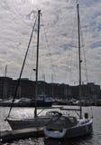 Segelbåtar på pir Royaltyfria Foton