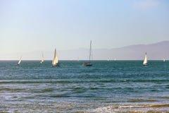 Segelbåtar tillbaka till Marina Del Rey i Kalifornien Arkivfoto