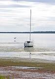 Segelbåten strandade i grunt vatten Royaltyfri Bild
