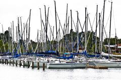 Segelbåthamn, från Balaton sjön arkivfoto