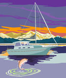 segelbåtseglingforell arkivfoton
