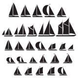 Segelbåtsymboluppsättning Royaltyfria Bilder