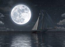 Segelboot auf dem Meer nachts mit Vollmond stock abbildung