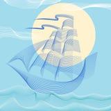 Segelboot auf dunkelblauem Hintergrund Stock Abbildung