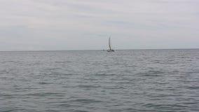 Segelboot auf Michigansee Illinois unter Segel stock video