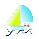 Segelboot, das an auf Wellen schwimmt lizenzfreies stockfoto