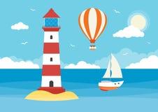 Segelboot, Heißluft-Ballon und Leuchtturm lizenzfreies stockbild