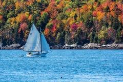 Segelboot im Herbst in Küsten-Maine, Neu-England Lizenzfreies Stockbild