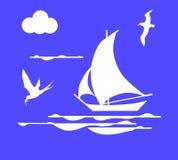 Segelboot im Ozean Lizenzfreie Abbildung
