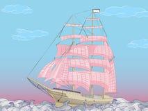 Segelboot mit magentarotem Segeltuch segelt in ein gewelltes Meer Stockbilder