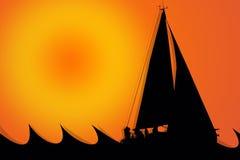Segelboot-Schattenbild an einem sonnigen Tag Lizenzfreies Stockfoto