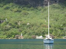 Segelboot in Tahiti Stockbild