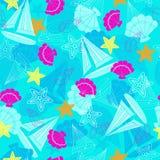 Segelboot-und Starfish-nahtloses Wiederholungs-Muster Stockbild