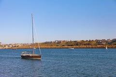 Segelboot zurück zu Marina Del Rey in Kalifornien lizenzfreie stockbilder