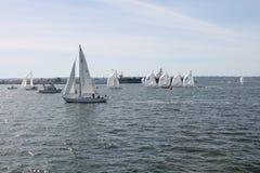Segelboote auf der Bucht Lizenzfreie Stockbilder