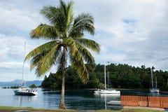 Segelboote bei Savusavu beherbergten, Insel Vanua Levu, Fidschi stockbild