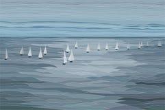 Segelboote in der Seevektor-Landschaftsillustration Lizenzfreie Stockfotos