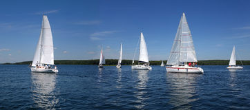 Segelboote, die in blauen See im Sommer schwimmen Lizenzfreie Stockfotografie
