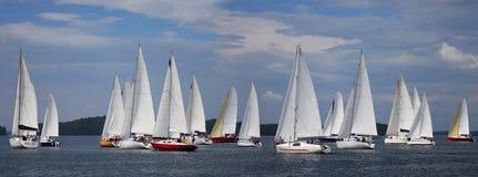 Segelboote, die in blauen See im Sommer schwimmen Lizenzfreie Stockbilder