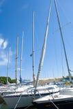 Segelboote im Dock Stockbild