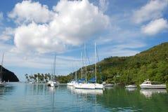 Segelboote im tropischen Hafen lizenzfreies stockbild