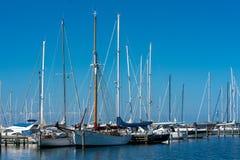 Segelboote am Warnemuende-Jachthafen lizenzfreie stockbilder