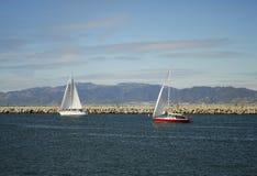 Segelboote weg von der Los- Angelesküstenlinie lizenzfreie stockbilder