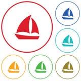Segelbootikone einfach Lizenzfreies Stockfoto