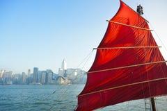 Segelbootmarkierungsfahne in Hong Kong Lizenzfreie Stockbilder